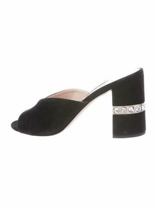 Miu Miu Suede Crystal Embellishments Slides Black