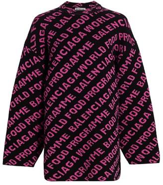 Balenciaga World Food Programme Wool Knit Crewneck Sweater