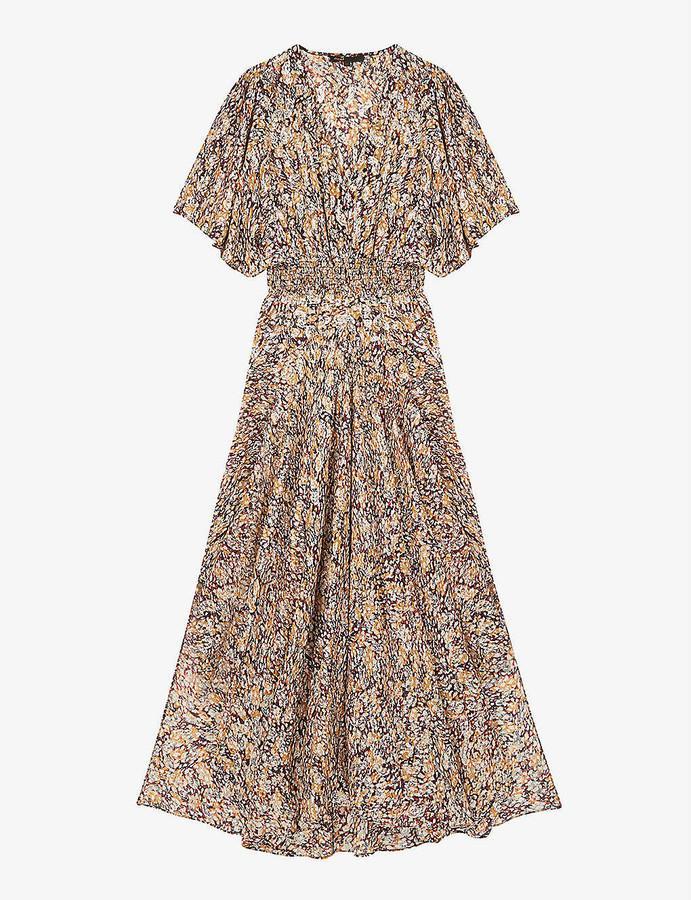 Maje Graphic-print crepe maxi dress