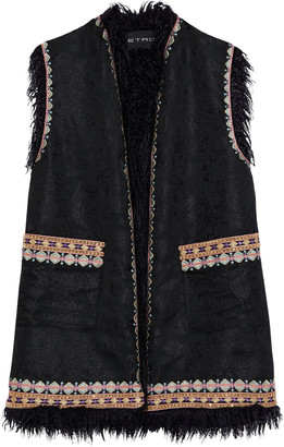 Etro Faux Fur-trimmed Embroidered Jacquard Vest