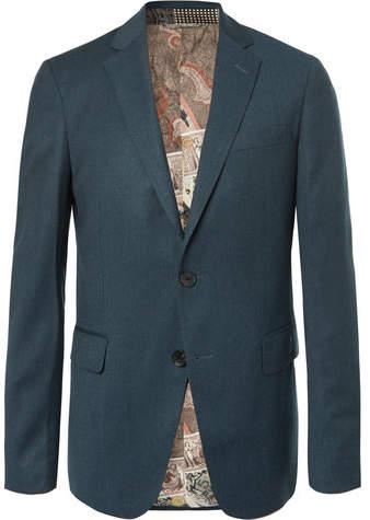 Etro Petrol Slim-Fit Mélange Stretch Wool-Blend Suit Jacket