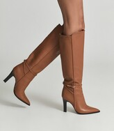 Thumbnail for your product : Reiss Ada - Knee-high Leather Boots in Tan