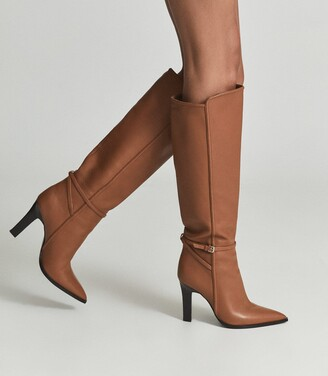 Reiss Ada - Knee-high Leather Boots in Tan