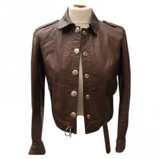 Emmanuelle Khanh Brown Leather Leather Jacket for Women Vintage