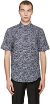 Versace Grey and Navy Baroque Shirt