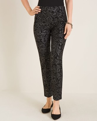 So Slimming Juliet Scroll-Print Ankle Pants