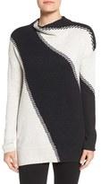 Nic+Zoe Women's Funnel Neck Marled Intarsia Sweater