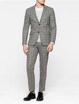 Calvin Klein Windowpane Fitted Virgin Wool Suit
