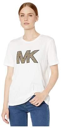 MICHAEL Michael Kors Cheetah MK Logo T-Shirt (White) Women's Clothing
