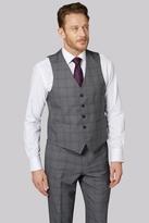 Moss Esq. Regular Fit Charcoal Check Waistcoat