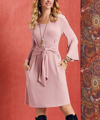 Suzanne Betro Dresses Women's Casual Dresses 101DUSTY - Dusty Rose Tie-Accent Bell-Sleeve Fit & Flare Dress - Women & Plus