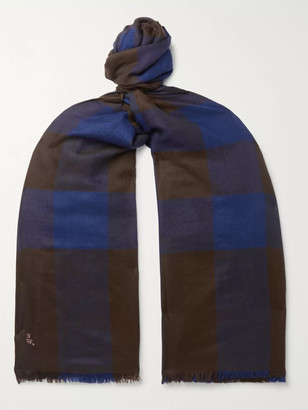 Anderson & Sheppard Fringed Checked Cashmere Scarf - Men - Blue