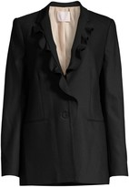 Rebecca Taylor Stretch-Wool Ruffle Suit Jacket