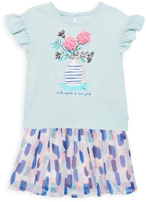 Kate Spade Baby Girl's 2-Piece Cat Graphic Tee & Abstract Skirt Set