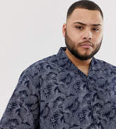 Duke King Size revere collar shirt in navy palm print