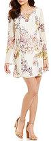 Jodi Kristopher Lace-Up V-Neckline Bell-Sleeve Floral-Print Shift Dress
