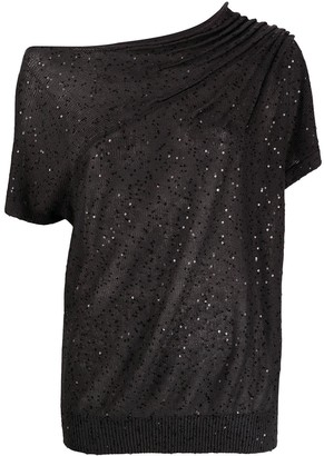 Brunello Cucinelli Sequin-Embellished Knitted Top