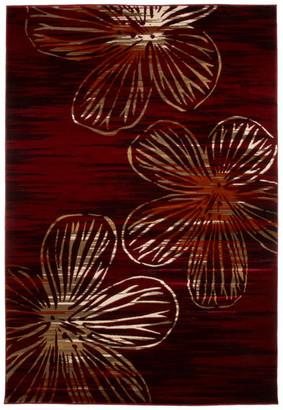"Lavish Home Opus Modern Floral Area Rug, Burgundy, 5'3"" x 7'7"""
