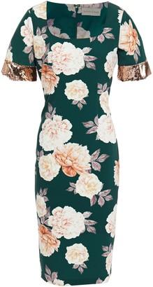 Sachin + Babi Sequin-embellished Floral-print Crepe De Chine Midi Dress