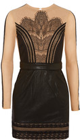 Self-Portrait Wanderlust embroidered tulle and faux leather mini dress
