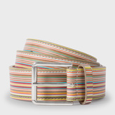 Paul Smith Men's Embossed Signature Stripe Leather Belt
