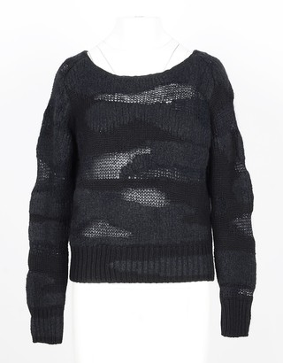 Lamberto Losani Black Distressed Cashmere and Silk Women's Sweater