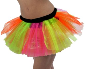 HOT LOOK Ladies Womens NEON-UV FLIORESCENT 3 Layer Tutu Skirts Fancy Dress Hen Night Party in 8-18 (XL (FITS UK 16-18)