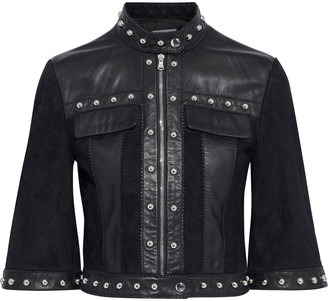 RED Valentino Studded Leather-paneled Suede Jacket