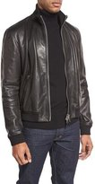 Tom Ford Lamb Leather Funnel-Neck Bomber Jacket, Black