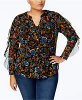 INC International Concepts I.N.C. Plus Size Ruffle-Sleeve Mesh Shirt, Created for Macy's