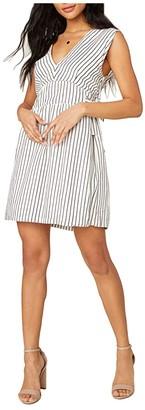 BB Dakota Yarn-Dye Rayon Stripe Dress with Waist Ties (Ivory) Women's Dress