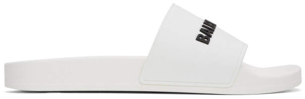 Balenciaga White and Black Rubber Logo Pool Slides