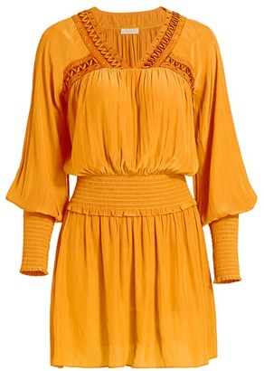 Ramy Brook Kelley Embellished Peasant Mini Dress