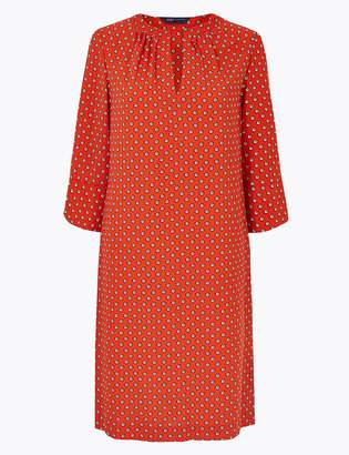 Marks and Spencer Ditsy Print 3/4 Sleeve Shift Dress