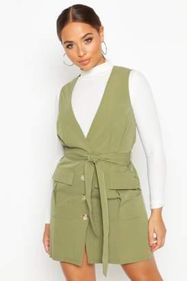 boohoo Woven Plunge Double Pocket Utility Blazer Dress