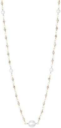 Mizuki 14K Yellow Gold & White Akoya Pearl Wire Wrapped Necklace