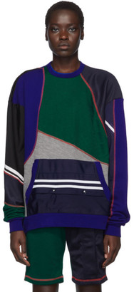 Ahluwalia Blue and Green Patchwork Sweatshirt