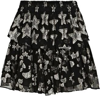 LoveShackFancy Star Chiffon Ruffle Mini Skirt