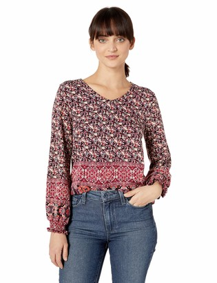 Skyes The Limit Women's Petite Long Sleeve Border Print v Neck top