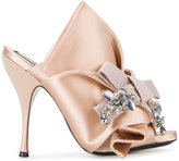 No.21 Pink Bow Mules - women - Leather/Silk Satin - 36