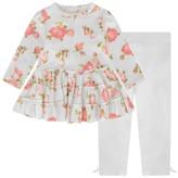 Kate Mack Kate MackBaby Girls Ivory Floral Dress & Leggings Set