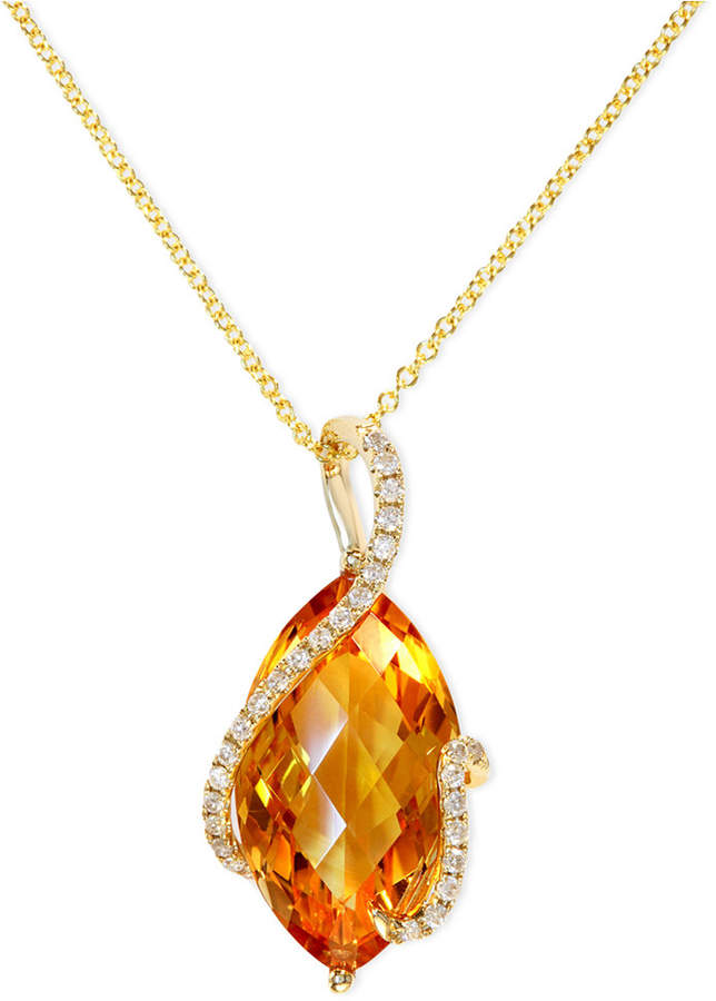 Effy Gemma by Citrine (8-1/2 ct. t.w.) and Diamond (1/8 ct. t.w.) Marquise Wrap Pendant in 14k Gold