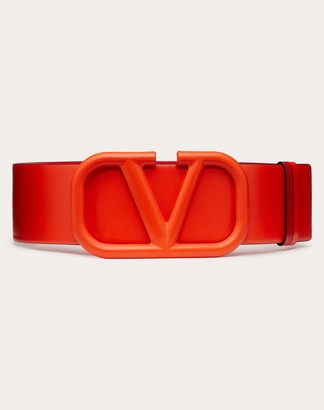 Valentino Reversible Vlogo Signature Belt In Glossy Calfskin 70 Mm / 2.8 In. Women Goldfish/rouge Pur 100% Pelle Bovina - Bos Taurus 80