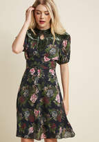 Anna Sui Opulent Occasions Silk Dress in 6 - Short Sleeve A-line Knee Length by from ModCloth