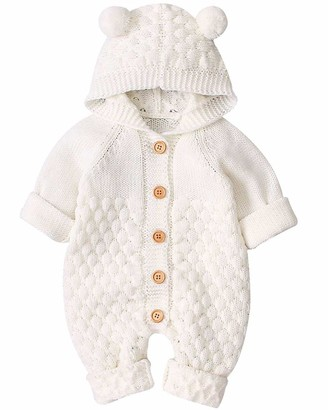 UMIPUBO Toddler Baby Hooded Knitted Rompers Newborn Girls Boys Onesies Winter Warm Button Sweater Jumpsuit Outfits 3-24 Months