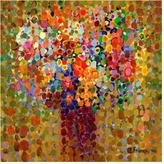 Floral Bouquet Ochre Canvas Reproduction