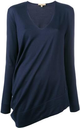 Fay asymmetric V-neck jumper