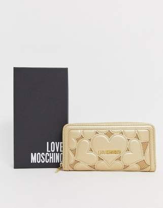 Love Moschino metallic heart embossed faux leather large zip purse-Gold