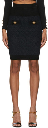 Balmain Black Fluffy Diamond Miniskirt