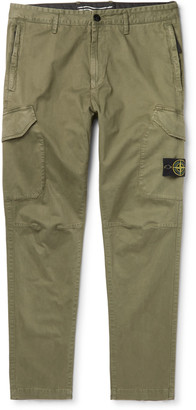 Stone Island Slim-Fit Logo-Appliqued Garment-Dyed Cotton-Blend Cargo Trousers